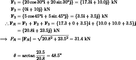 \[\begin{split}\bold F_1&=\{20\cos 30^\circ \bold i+20\sin 30^\circ\bold j\}=\{17.3\bold i+10.0\bold j\}\text{ kN}\\\bold F_2&=\{0\bold i + 10\bold j\}\text{ kN}\\\bold F_3&=\{5\cos 45^\circ\bold i+5\sin 45^\circ\bold j\}=\{3.5\bold i + 3.5\bold j\}\text{ kN}\\\therefore \bold F_R&=\bold F_1 + \bold F_2 + \bold F_3= \{17.3+0+3.5\}\bold i+\{10.0+10.0+3.5\}\bold j\\&=\{20.8\bold i+23.5\bold j\}\text{ kN}\\\implies F_R&=|\bold F_R|=\sqrt{20.8^2+23.5^2}=31.4 \text{ kN}\\\\ \theta&=\arctan\frac{23.5}{20.8}=48.5^\circ\end{split}\]