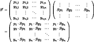 \[\begin{split} S'&=\left( \begin{array}{cccc} p_{1,1}&p_{1,2}&\cdots&p_{1,n}\\ y_{2,1}&y_{2,2}&\cdots&y_{2,n}\\ \vdots&\vdots&\ddots&\vdots\\ y_{n,1}&y_{n,2}&\cdots&y_{n,n} \end{array} \right) \left( \begin{array}{cccc} \vdots&\vdots&\cdots&\vdots\\ Sp_1&Sy_2&\cdots&Sy_n\\ \vdots&\vdots&\cdots&\vdots\\ \end{array} \right)\\ & = \left( \begin{array}{cccc} p_1\cdot Sp_1&p_1\cdot Sy_2&\cdots&p_1\cdot Sy_n\\ y_2\cdot Sp_1&y_2\cdot Sy_2&\cdots&y_2\cdot Sy_n\\ \vdots&\vdots&\ddots&\vdots\\ y_n\cdot Sp_1&y_n\cdot Sy_2&\cdots&y_n\cdot Sy_n \end{array} \right) \end{split} \]