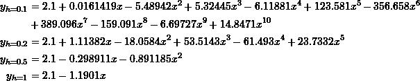 \[\begin{split}y_{h=0.1}&=2.1 + 0.0161419 x - 5.48942 x^2 + 5.32445 x^3 - 6.11881 x^4 + 123.581 x^5 - 356.658 x^6\\& + 389.096 x^7 - 159.091 x^8 - 6.69727 x^9 + 14.8471 x^{10}\\y_{h=0.2}&=2.1 + 1.11382 x - 18.0584 x^2 + 53.5143 x^3 - 61.493 x^4 + 23.7332 x^5\\y_{h=0.5}&=2.1 - 0.298911 x - 0.891185 x^2\\y_{h=1}&=2.1-1.1901x\end{split}\]