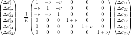 \[\begin{pmatrix} \Delta \varepsilon_{11}^e \\ \Delta \varepsilon_{22}^e \\ \Delta \varepsilon_{33}^e \\ \Delta \varepsilon_{12}^e \\ \Delta \varepsilon_{13}^e \\ \Delta \varepsilon_{23}^e \\ \end{pmatrix} = \frac{1}{E} \begin{pmatrix} 1 & -\nu & -\nu & 0 & 0 & 0 \\ -\nu & 1 & -\nu & 0 & 0 & 0 \\ -\nu & -\nu & 1 & 0 & 0 & 0 \\ 0 & 0 & 0 & 1+\nu & 0 & 0 \\ 0 & 0 & 0 & 0 & 1+\nu & 0 \\ 0 & 0 & 0 & 0 & 0 & 1+\nu \\ \end{pmatrix} \begin{pmatrix} \Delta \sigma_{11} \\ \Delta \sigma_{22} \\ \Delta \sigma_{33} \\ \Delta \sigma_{12} \\ \Delta \sigma_{13} \\ \Delta \sigma_{23} \\ \end{pmatrix}\]
