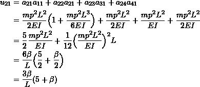 \[ \begin{split} u_{21} &= a_{21}a_{11} + a_{22}a_{21} + a_{23}a_{31} + a_{24}a_{41} \\ &= \frac{mp^2L^2}{2EI}\Big( 1 + \frac{mp^2L^3}{6EI}\Big) + \frac{mp^2L^2}{2EI} + \frac{mp^2L^2}{EI} + \frac{mp^2L^2}{2EI} \\ &= \frac{5}{2}\frac{mp^2L^2}{EI} + \frac{1}{12}\Big( \frac{mp^2L^2}{EI} \Big)^2L \\ &= \frac{6\beta}{L}\Big( \frac{5}{2} + \frac{\beta}{2} \Big) \\ &= \frac{3\beta}{L}(5+\beta) \end{split} \]