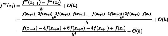 \[\begin{split}f''''(x_i) & = \frac{f'''(x_{i+1})-f'''(x_i)}{h}+\mathcal O (h)\\&=\frac{\frac{f(x_{i+4})-3f(x_{i+3})+3f(x_{i+2})-f(x_{i+1})}{h^3}-\frac{f(x_{i+3})-3f(x_{i+2})+3f(x_{i+1})-f(x_i)}{h^3}}{h} +\mathcal O (h)\\&=\frac{f(x_{i+4})-4f(x_{i+3})+6f(x_{i+2})-4f(x_{i+1})+f(x_i)}{h^4}+\mathcal O (h)\end{split}\]