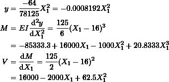 \[ \begin{split} y & =\frac{-64}{78125}X_1^2=-0.0008192X_1^2\\ M &=EI\frac{\mathrm{d}^2y}{\mathrm{d}X_1^2} =\frac{125}{6}(X_1-16)^3\\ &=-85333.3 + 16000 X_1 - 1000 X_1^2 + 20.8333 X_1^3\\ V &=\frac{\mathrm{d}M}{\mathrm{d}X_1} =\frac{125}{2}(X_1-16)^2\\ &=16000 - 2000 X_1 + 62.5 X_1^2 \end{split} \]