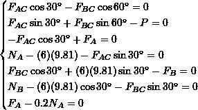 \[\begin{cases}F_{AC}\cos 30^\circ - F_{BC}\cos 60^\circ=0\\F_{AC}\sin 30^\circ + F_{BC}\sin 60^\circ -P=0\\-F_{AC}\cos 30^\circ + F_A=0\\N_A-(6)(9.81) - F_{AC}\sin 30^\circ =0\\F_{BC}\cos 30^\circ + (6)(9.81)\sin 30^\circ - F_B=0\\N_B-(6)(9.81)\cos 30^\circ - F_{BC}\sin 30^\circ =0\\F_A-0.2N_A=0\end{cases}\]