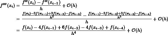 \[\begin{split}f''''(x_i) & = \frac{f'''(x_{i})-f'''(x_{i-1})}{h}+\mathcal O (h)\\&=\frac{\frac{f(x_{i})-3f(x_{i-1})+3f(x_{i-2})-f(x_{i-3})}{h^3}-\frac{f(x_{i-1})-3f(x_{i-2})+3f(x_{i-3})-f(x_{i-4})}{h^3}}{h} +\mathcal O (h)\\&=\frac{f(x_{i})-4f(x_{i-1})+6f(x_{i-2})-4f(x_{i-3})+f(x_{i-4})}{h^4}+\mathcal O (h)\end{split}\]