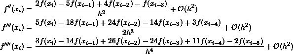 \[\begin{split}f''(x_{i})&=\frac{2f(x_{i})-5f(x_{i-1})+4f(x_{i-2})-f(x_{i-3})}{h^2}+\mathcal O (h^2)\\f'''(x_{i})&=\frac{5f(x_{i})-18f(x_{i-1})+24f(x_{i-2})-14f(x_{i-3})+3f(x_{i-4})}{2h^3}+\mathcal O (h^2)\\f''''(x_{i})&=\frac{3f(x_{i})-14f(x_{i-1})+26f(x_{i-2})-24f(x_{i-3})+11f(x_{i-4})-2f(x_{i-5})}{h^4}+\mathcal O (h^2)\end{split}\]