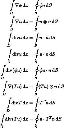 \[\begin{split} \int\limits_D \! \nabla\phi \,\mathrm{d}x &=\oint\limits_{S} \! \phi n \,\mathrm{d}S\\ \int\limits_D \! \nabla u \,\mathrm{d}x &=\oint\limits_{S} \! u\otimes n \,\mathrm{d}S\\ \int\limits_D \! \mathrm{div} u \,\mathrm{d}x &=\oint\limits_{S} \! u \cdot n \,\mathrm{d}S\\ \int\limits_D \! \mathrm{div} u \,\mathrm{d}x &=\oint\limits_{S} \! u \cdot n \,\mathrm{d}S\\ \int\limits_D \! \mathrm{div} (\phi u) \,\mathrm{d}x &=\oint\limits_{S} \! \phi u \cdot n \,\mathrm{d}S\\ \int\limits_D \! \nabla (Tu) \,\mathrm{d}x &=\oint\limits_{S} \! (Tu)\otimes  n \,\mathrm{d}S\\ \int\limits_D \! \mathrm{div} T \,\mathrm{d}x &=\oint\limits_{S} \! T^T  n \,\mathrm{d}S\\ \int\limits_D \! \mathrm{div} (Tu) \,\mathrm{d}x &=\oint\limits_{S} \! u\cdot T^T  n \,\mathrm{d}S \end{split} \]