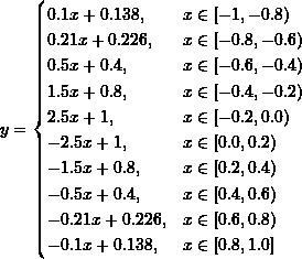 \[ y=\begin{cases} 0.1x+0.138,&x\in [-1, -0.8) \\ 0.21x+0.226,&x\in [-0.8, -0.6) \\ 0.5x+0.4,&x\in [-0.6, -0.4)\\ 1.5x+0.8,&x\in [-0.4, -0.2)\\2.5x+1,&x\in [-0.2, 0.0)\\-2.5x+1,&x\in [0.0, 0.2)\\-1.5x+0.8,&x\in [0.2, 0.4)\\-0.5x+0.4,&x\in [0.4, 0.6)\\-0.21x+0.226,&x\in [0.6, 0.8)\\-0.1x+0.138,&x\in [0.8, 1.0] \end{cases} \]