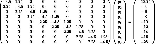 \[\left(\begin{matrix}-4.5&1.25&0&0&0&0&0&0&0\\2.25&-4.5&1.25&0&0&0&0&0&0\\0&2.25&-4.5&1.25&0&0&0&0&0\\0&0&2.25&-4.5&1.25&0&0&0&0\\0&0&0&2.25&-4.5&1.25&0&0&0\\0&0&0&0&2.25&-4.5&1.25&0&0\\0&0&0&0&0&2.25&-4.5&1.25&0\\0&0&0&0&0&0&2.25&-4.5&1.25\\0&0&0&0&0&0&0&2.25&-4.5\end{matrix}\right)\left(\begin{array}{c}y_1\\y_2\\y_3\\y_4\\y_5\\y_6\\y_7\\y_8\\y_9\end{array}\right)=\left(\begin{array}{c}-13.25\\-4\\-6\\-8\\-10\\-12\\-14\\-16\\-28\end{array}\right)\]