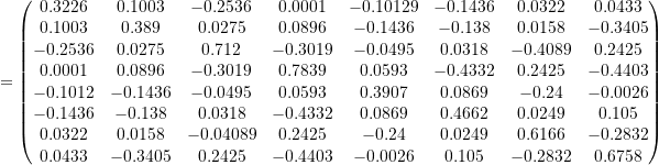 \[= \begin{pmatrix} 0.3226 & 0.1003 & -0.2536 & 0.0001 & -0.10129 & -0.1436 & 0.0322 & 0.0433 \\ 0.1003 & 0.389 & 0.0275 & 0.0896 & -0.1436 & -0.138 & 0.0158 & -0.3405 \\ -0.2536 & 0.0275 & 0.712 & -0.3019 & -0.0495 & 0.0318 & -0.4089 & 0.2425 \\ 0.0001 & 0.0896 & -0.3019 & 0.7839 & 0.0593 & -0.4332 & 0.2425 & -0.4403 \\ -0.1012 & -0.1436 & -0.0495 & 0.0593 & 0.3907 & 0.0869 & -0.24 & -0.0026 \\ -0.1436 & -0.138 & 0.0318 & -0.4332 & 0.0869 & 0.4662 & 0.0249 & 0.105 \\ 0.0322 & 0.0158 & -0.04089 & 0.2425 & -0.24 & 0.0249 & 0.6166 & -0.2832 \\ 0.0433 & -0.3405 & 0.2425 & -0.4403 & -0.0026 & 0.105 & -0.2832 & 0.6758 \\ \end{pmatrix}\]