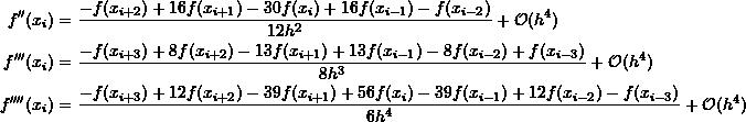 \[\begin{split}f''(x_{i})&=\frac{-f(x_{i+2})+16f(x_{i+1})-30f(x_{i})+16f(x_{i-1})-f(x_{i-2})}{12h^2}+\mathcal O (h^4)\\f'''(x_{i})&=\frac{-f(x_{i+3})+8f(x_{i+2})-13f(x_{i+1})+13f(x_{i-1})-8f(x_{i-2})+f(x_{i-3})}{8h^3}+\mathcal O (h^4)\\f''''(x_{i})&=\frac{-f(x_{i+3})+12f(x_{i+2})-39f(x_{i+1})+56f(x_{i})-39f(x_{i-1})+12f(x_{i-2})-f(x_{i-3})}{6h^4}+\mathcal O (h^4)\end{split}\]